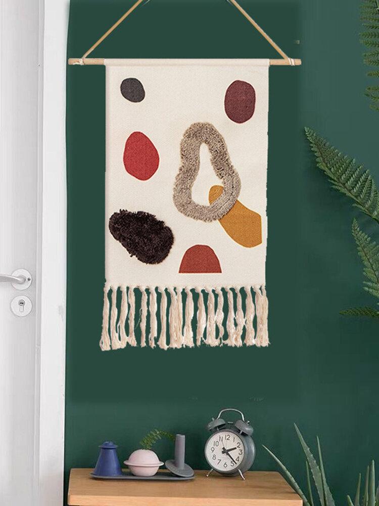 手織りのホームステイタッセルタペストリーの装飾北欧のメーターボックスぶら下がっている背景布の寝室