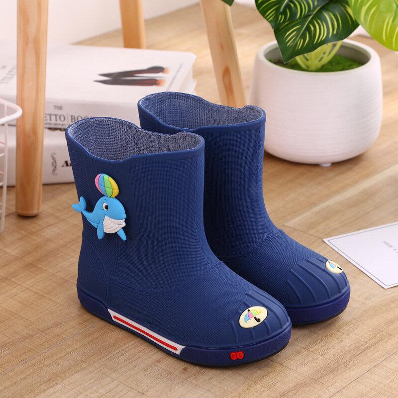 Unisex Kids Baby Dolphin Decor Water Shoes Soft Non Slip Rain Boots