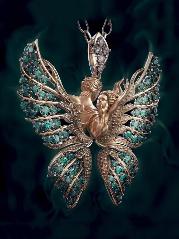 Vintage Angel Wings Inlaid Diamond Women Necklace Butterfly Pendant Necklace Jewelry Gift