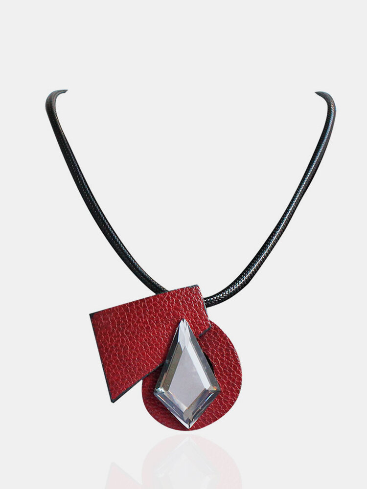 Trendy Women Necklace Leather Crystal Brooch Necklace