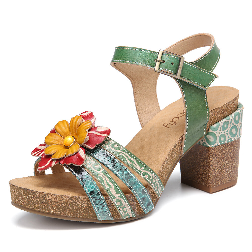 SOCOFY Leather Beaded Floral Strappy Adjustable Ankle Strap High Heels Chunky Heel Sandals