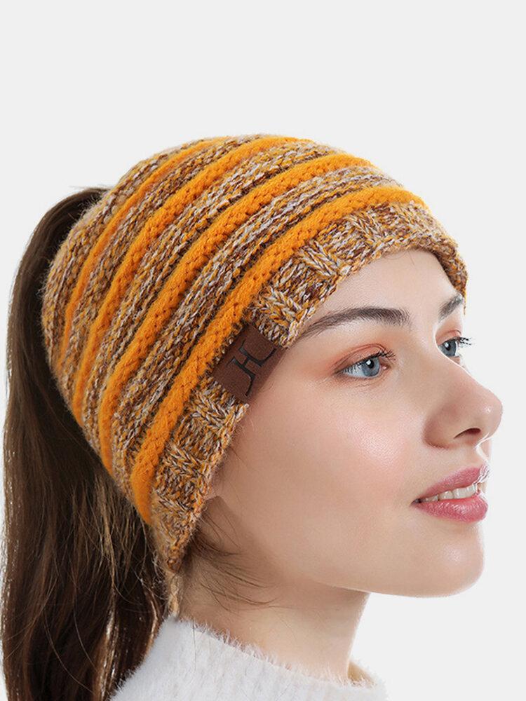 Women Wool Stripe Pattern Keep Warm Empty Top Ear Protection Knitted Hat