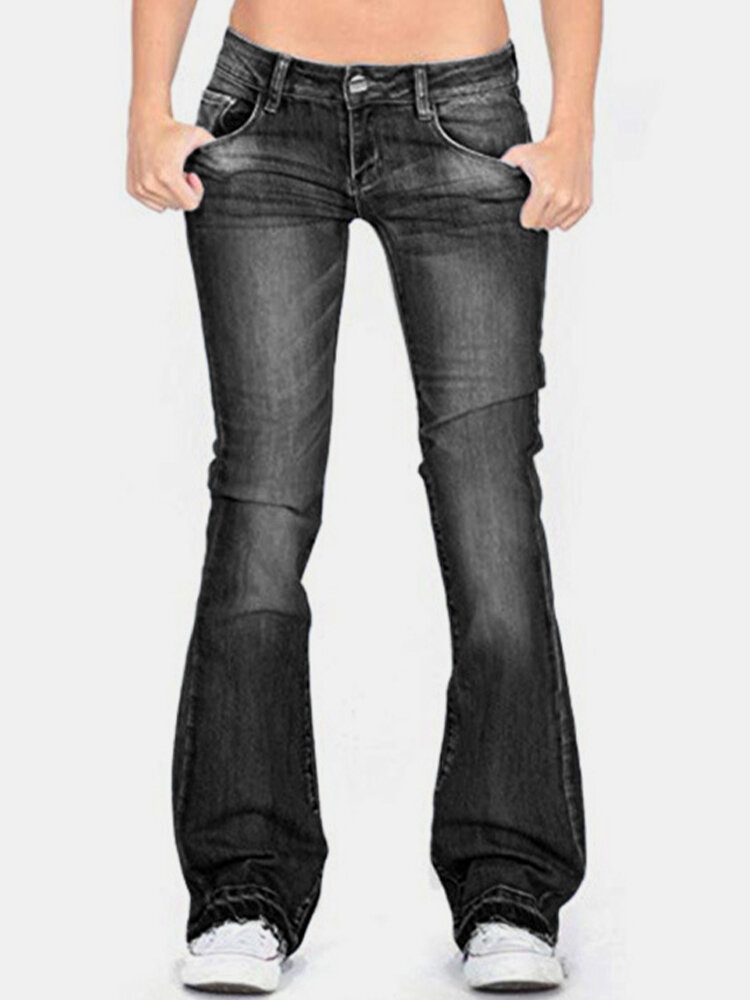 Women Mid Waist Casual Denim Jeans With Pocket