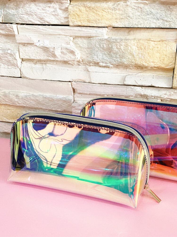 Net Red Magic Color Tpu Laser Cosmetic Bag Transparent Waterproof Bag Wash Cosmetic Storage Bag Logo