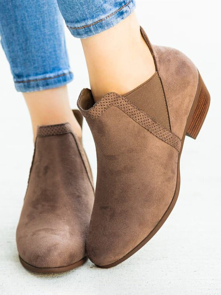 Women Synthetic Suede Pointed Toe Elastic Slip-on Chunky Heel Chelsea Boots