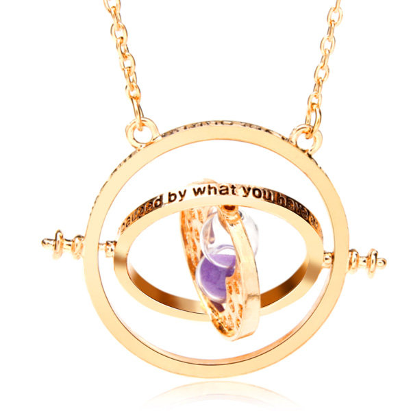 Gold Rotating Hourglass Time Turner Charm Necklaces for Women