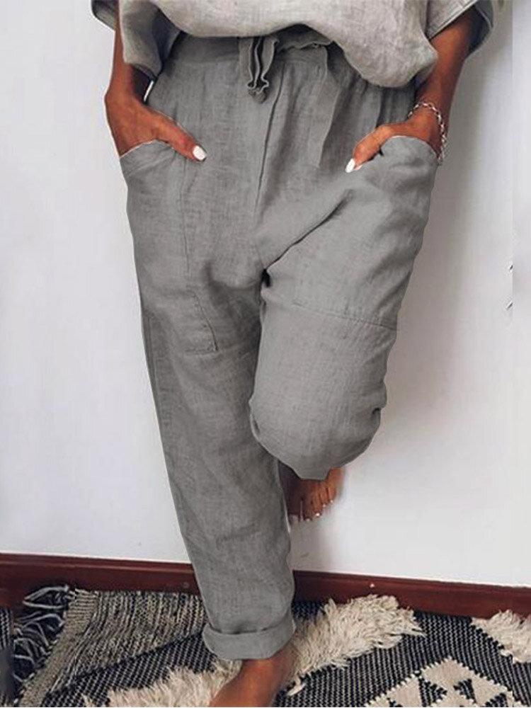 Einfarbige lässige Kordelzug elastische Taille Soft Hose