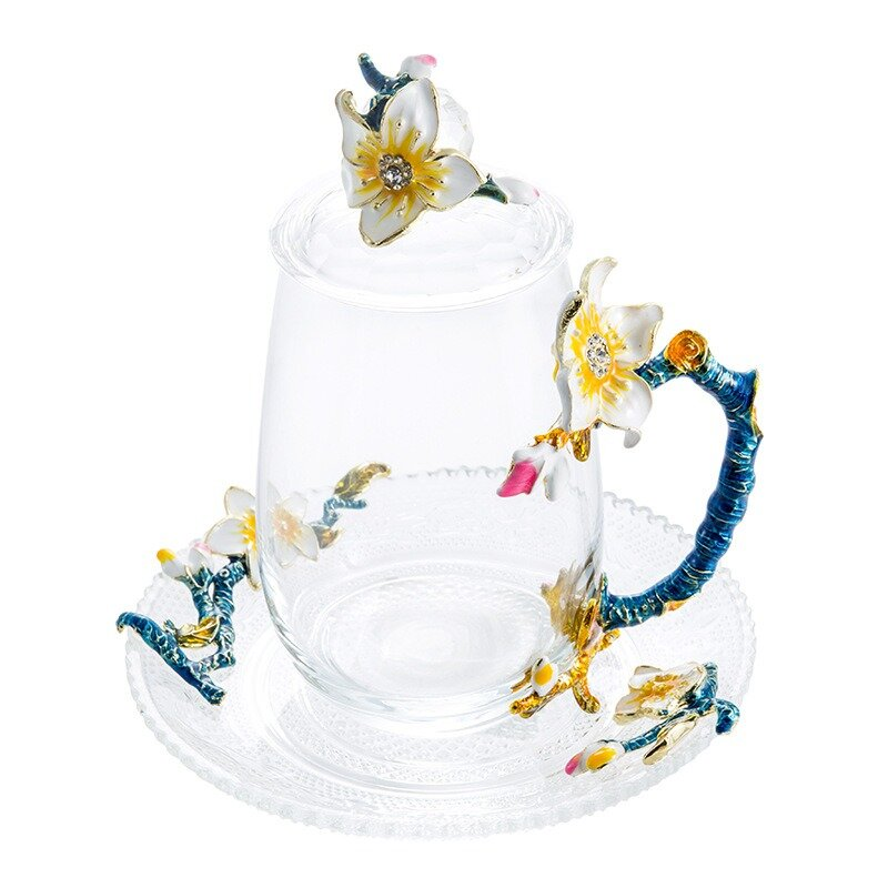 Apricot Flower Cup Enamel Tea Cup Crystal Heat-resistant Glass Cup with Lid and Spoon Creative Gift
