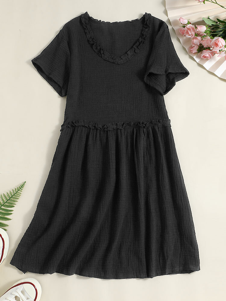 Women Solid Fungus Short Sleeve V-neck Casual Dress