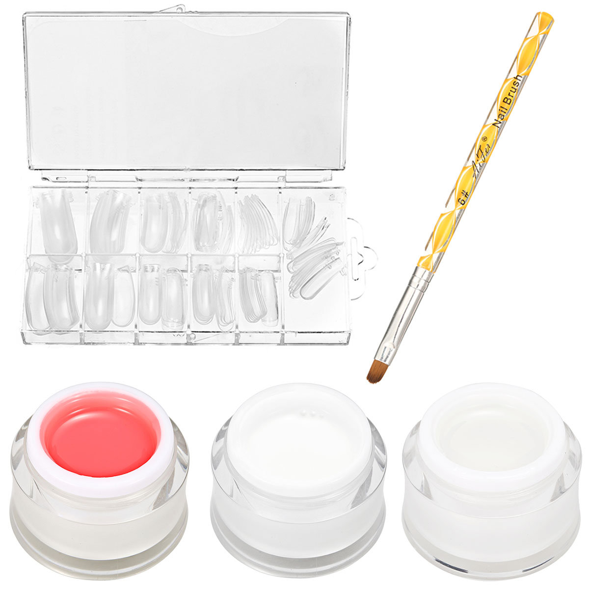 15ml Nail Gel Quick Builder Extension UV Gel Brush With 100 Pieces False Tips Kit