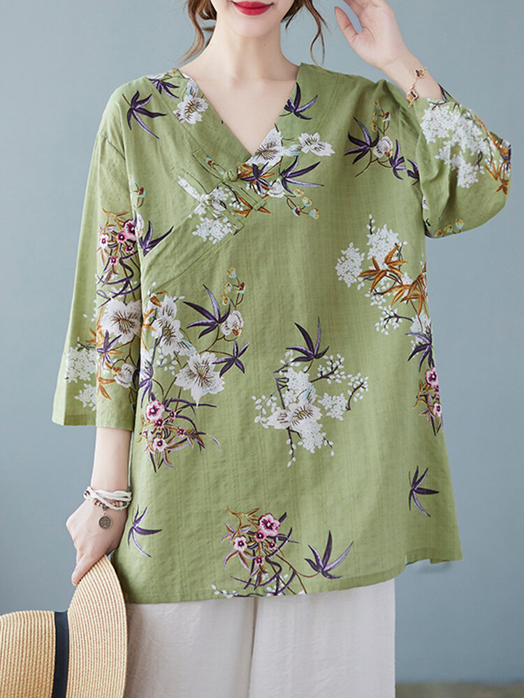 Flower Print V-neck Buckle Plus Size Chinese Style Blouse