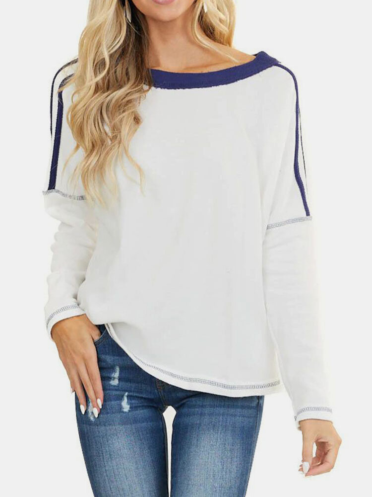 Contrast Color Loose Long Sleeve O-neck Casual T-shirt