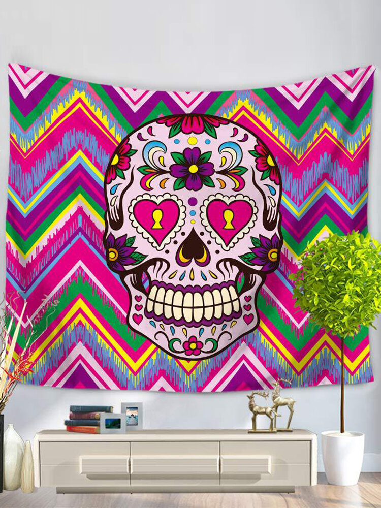 Halloween Home Decor Wall Hanging Tapestry Polyester Colorful Flower Skull Printed Yoga Mat Towel