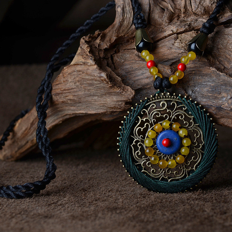 Ethnic Flower Carved Agate Turquoise Necklace Long Round Pendant Necklace Sweater Access for Her