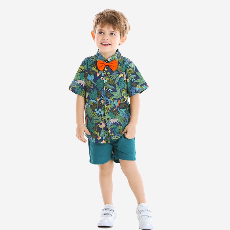 2Pcs Boys Coconut Print Beach Vacation Shirt+Short Pants Casual Clothing Sets For 1-8Y