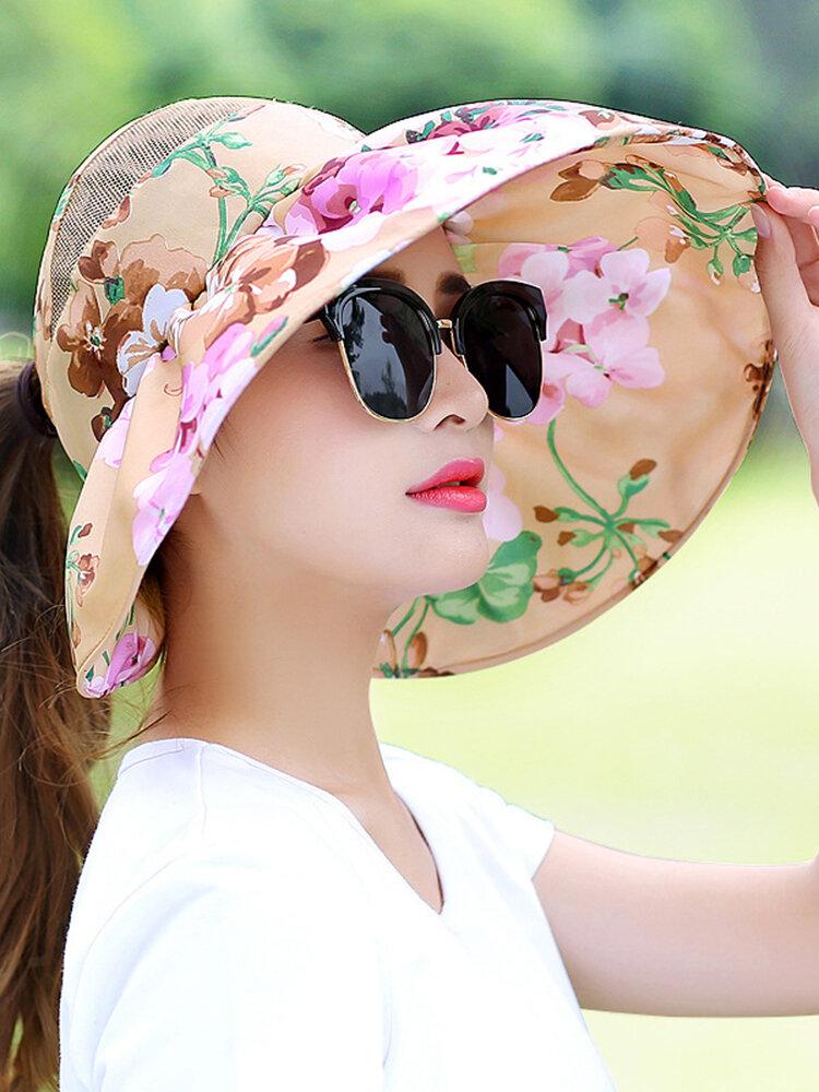 Viseira em tecido estampado mulher vazia Chapéu respirável