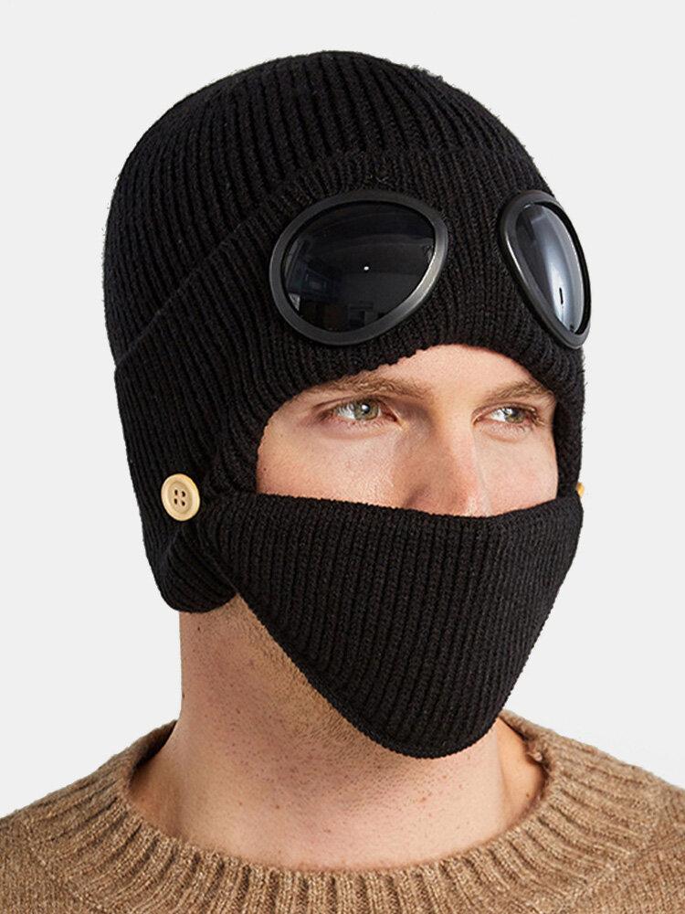 Men & Women Plus Velvet Thick Warm Neck Face Ear Protection Headgear Knitted Hat Mask Pilot Glasses