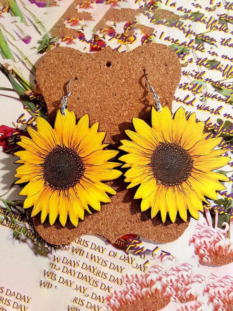 Vintage 3D Sunflower Wooden Earrings