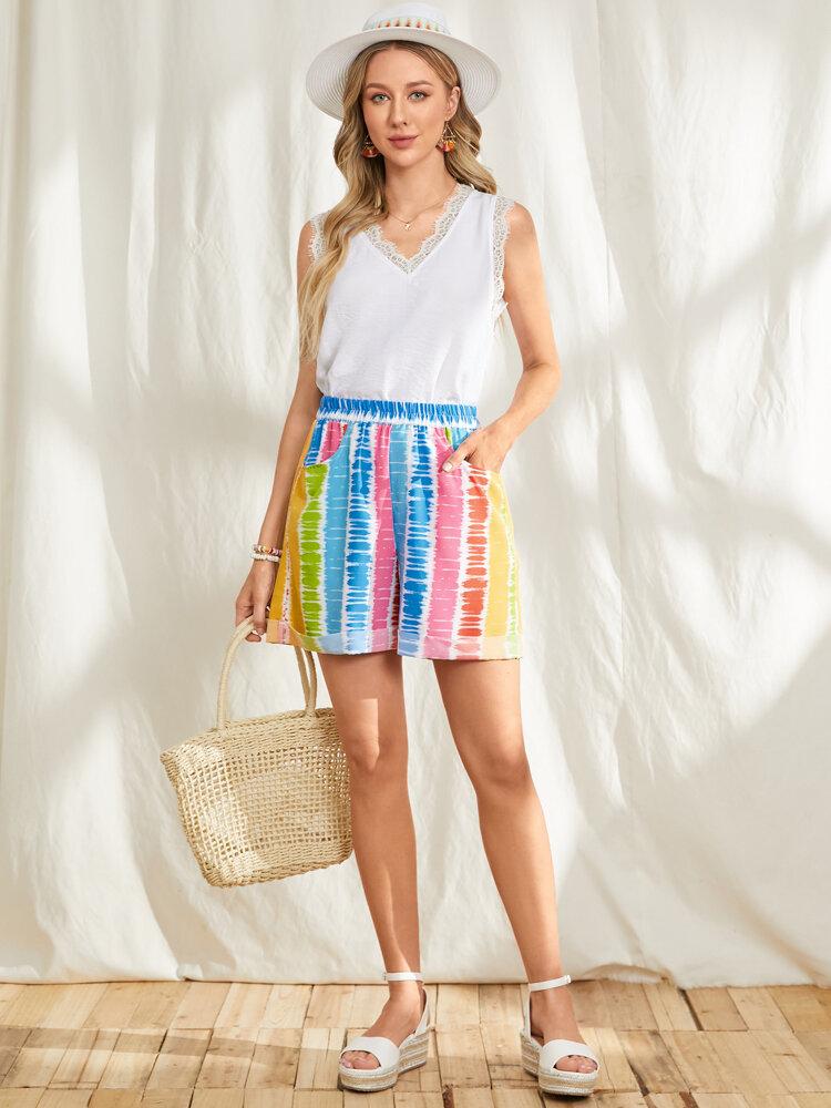 Multi-striped Print Pocket Elastic Waist Holiday Shorts for Women