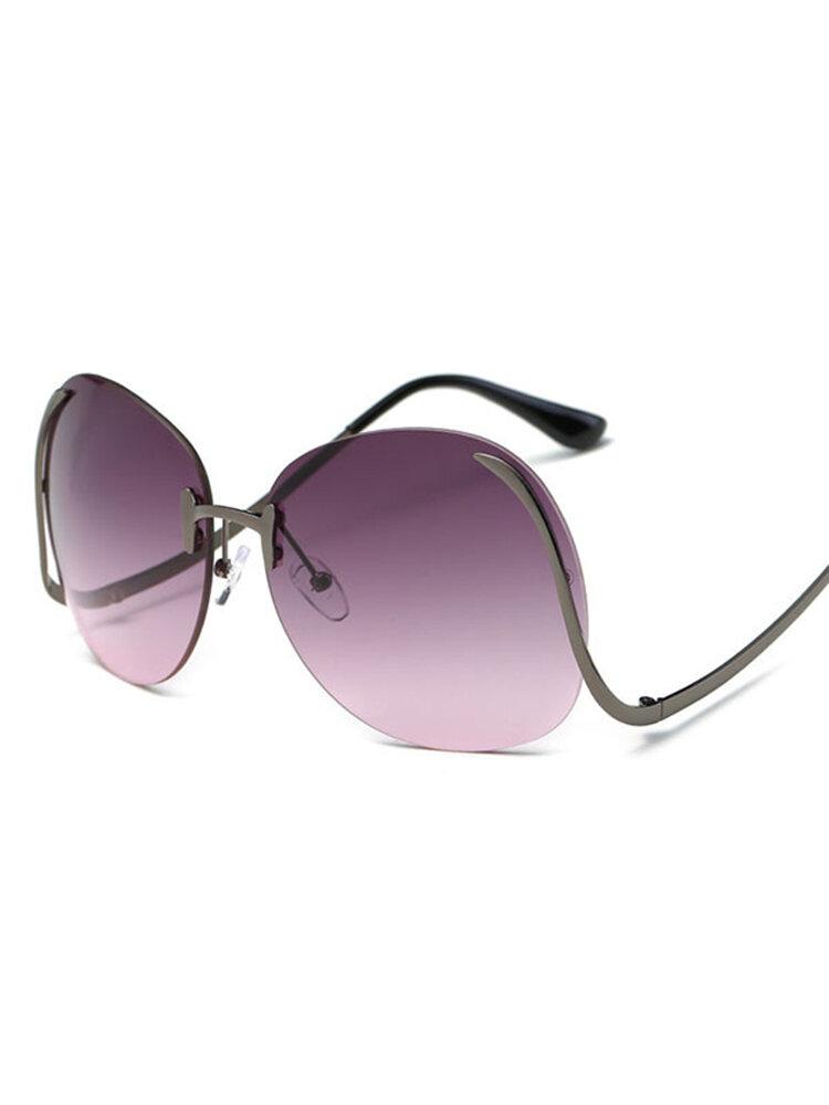 Women Frameless Curved Leg Anti-UV Sunglasses Gradient Lens Colorful Oceanic Mirror Glasses