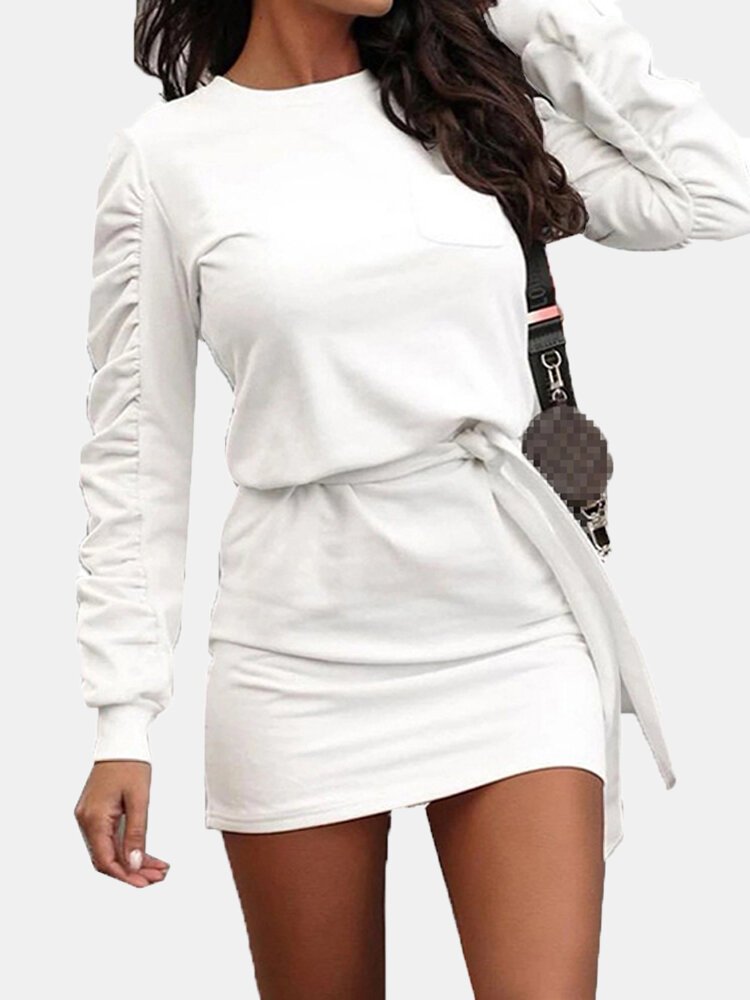 Casual Solid Color Long Sleeve Knotted Plus Size Dress with Pocket