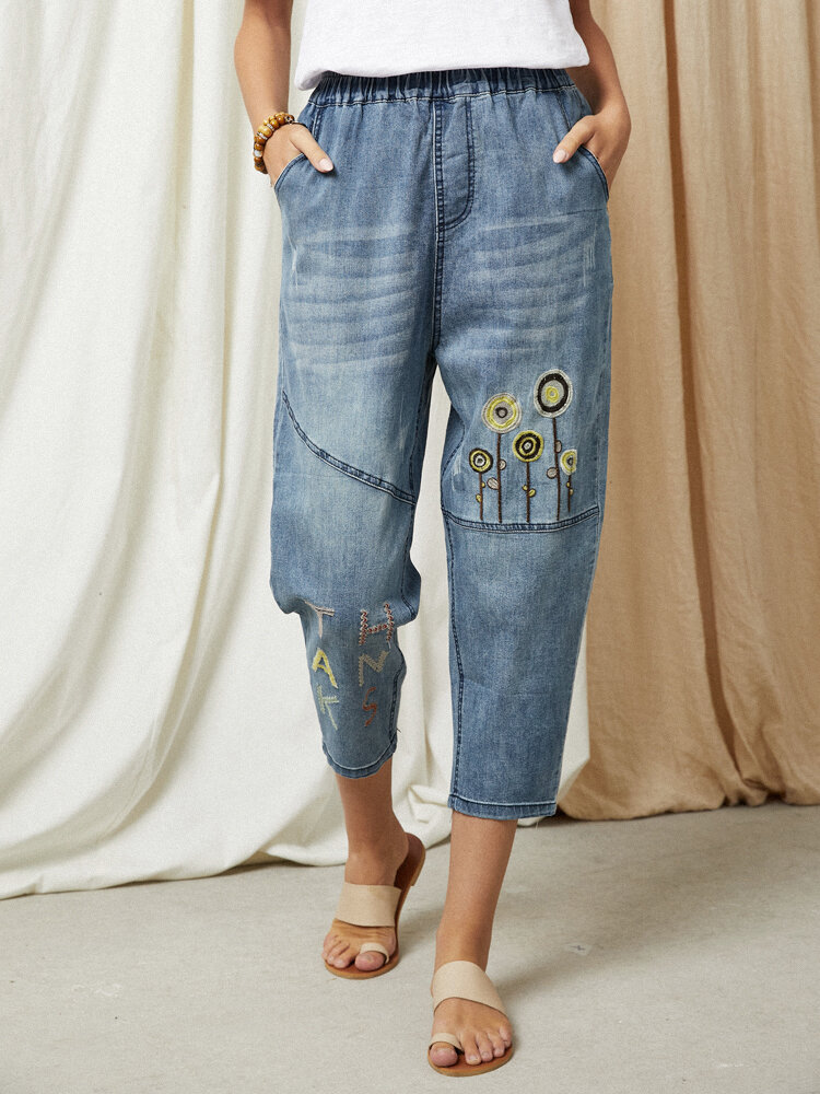 Letter Graphic Ethnic Embroidery Washed Denim Elastic Waist Jeans