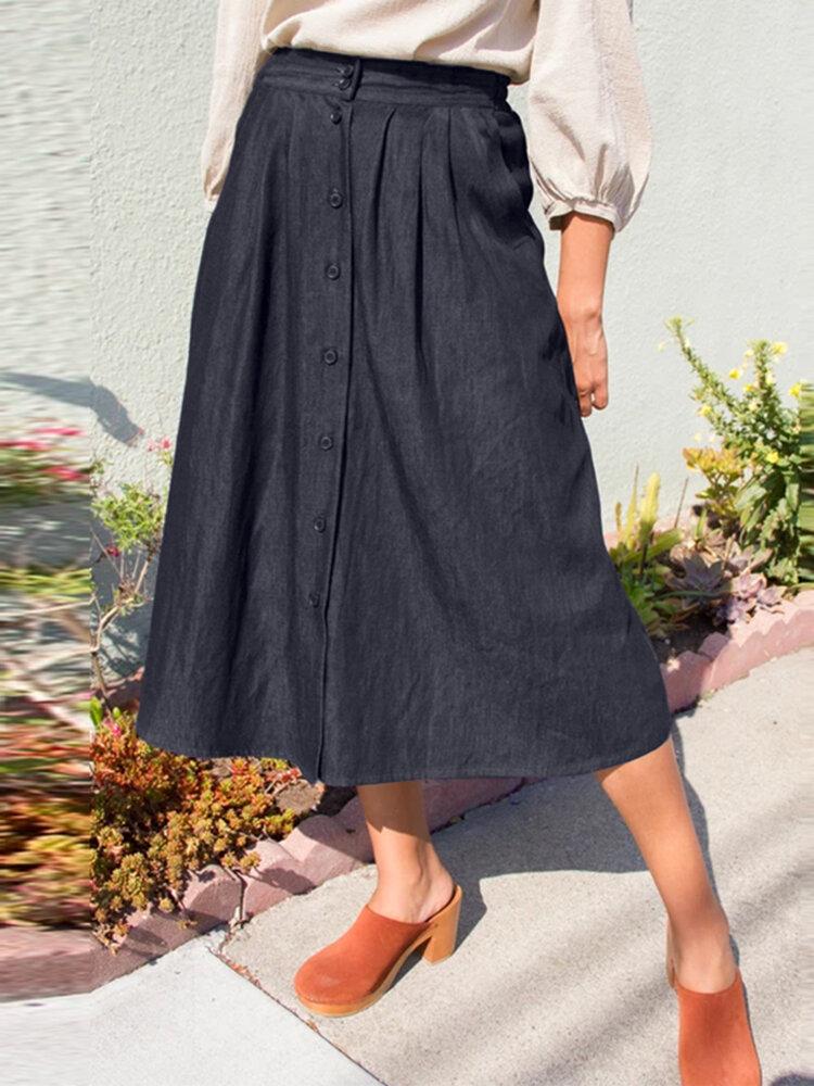 ソリッドカラーの伸縮性ウエストボタンPlusサイズのポケット付きプリーツドレス