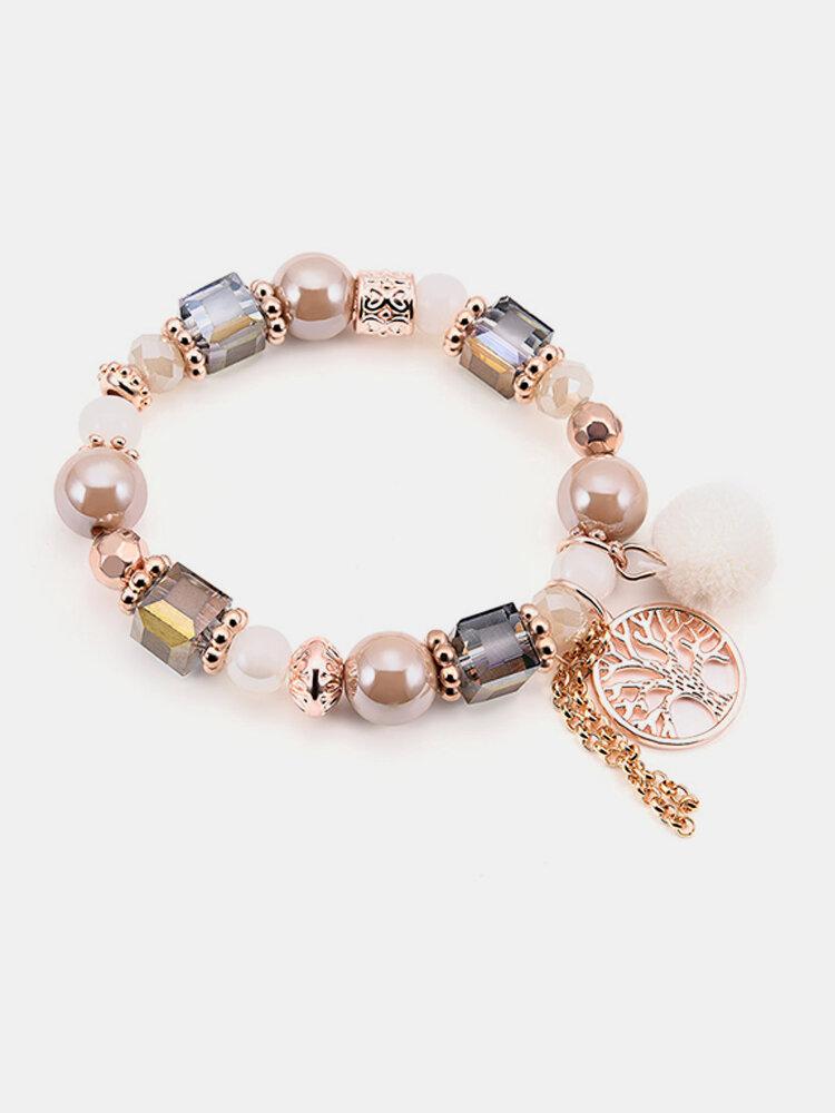 Bohemian Beaded Bracelets Colorful Irregular Bead Hollow Tree Chain Tassels Charm Bracelet for Women