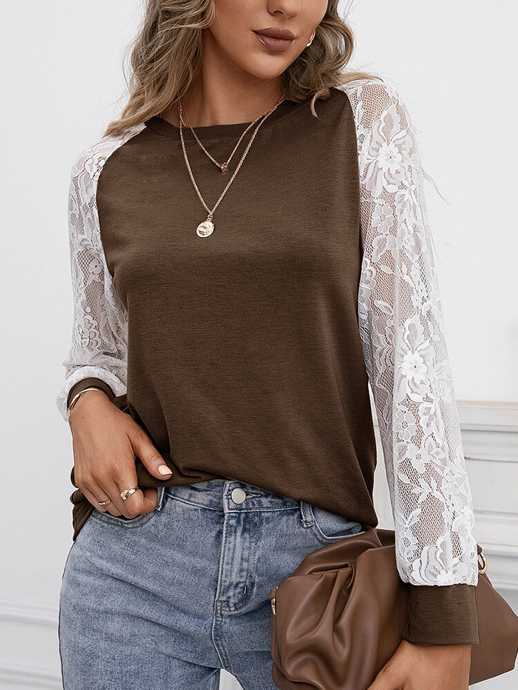 Lace Stitch Long Sleeve O-neck T-shirt for Women