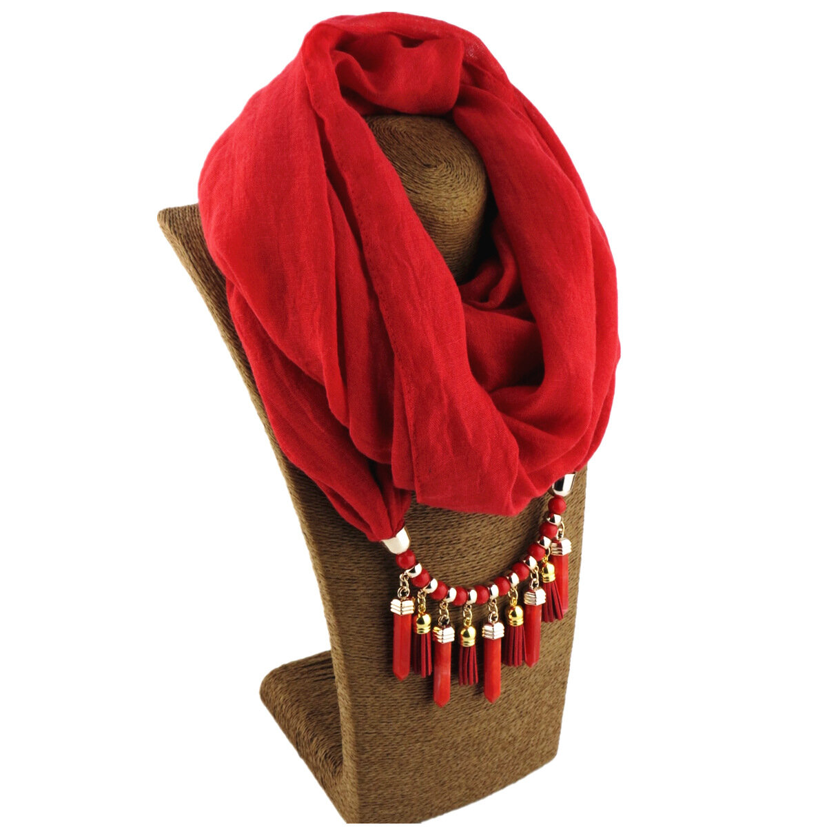 Bohemian Printed Cotton Linen Multi-layer Necklace Solid Color Beaded Tassel Pendant Scarf Necklace
