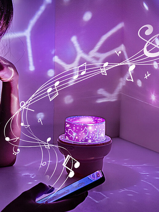Romantic Rotation LED Starry Sky Projection Lamp Bluetooth Speaker Star LED Remote Control Night Light