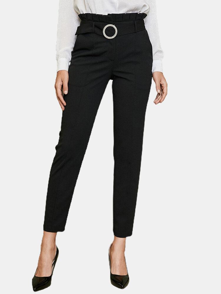 Color sólido Cintura Bolsillo Ajustado Largo Casual Pantalones para Mujer