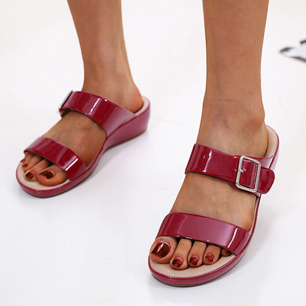 Women Solid Color Buckle Starp Increased Non Slip Casual Wedges Slippers