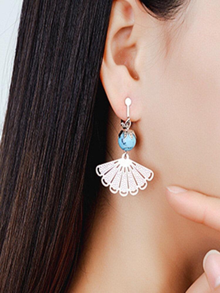 Vintage Ear Drop Earrings Hollow Fan Geometric Bead Tassel Pendant Earrings Ethnic Jewelry for Women