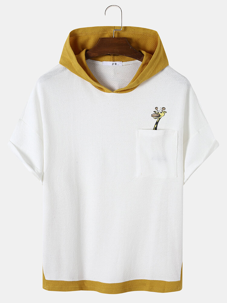 Mens Cartoon Giraffe Print Contrast Knit Drop Shoulder Hooded T-Shirts