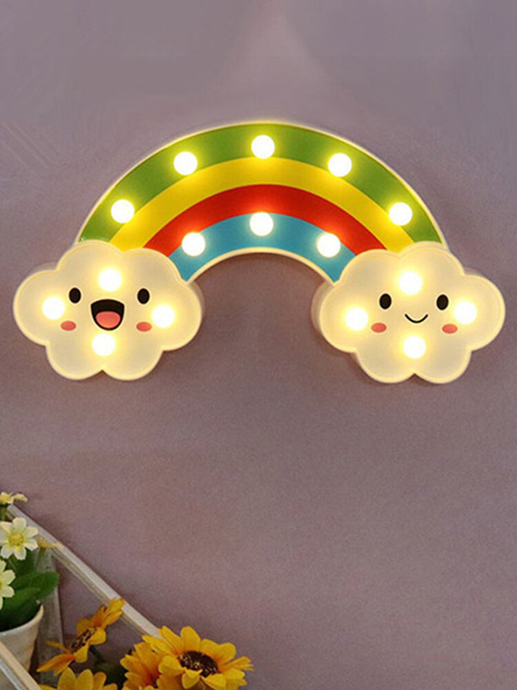 Smile Face Cloud Rainbow LED Night Light Cartoon Night Lamp Baby Bedside Lamp Kids Toy Gift Light