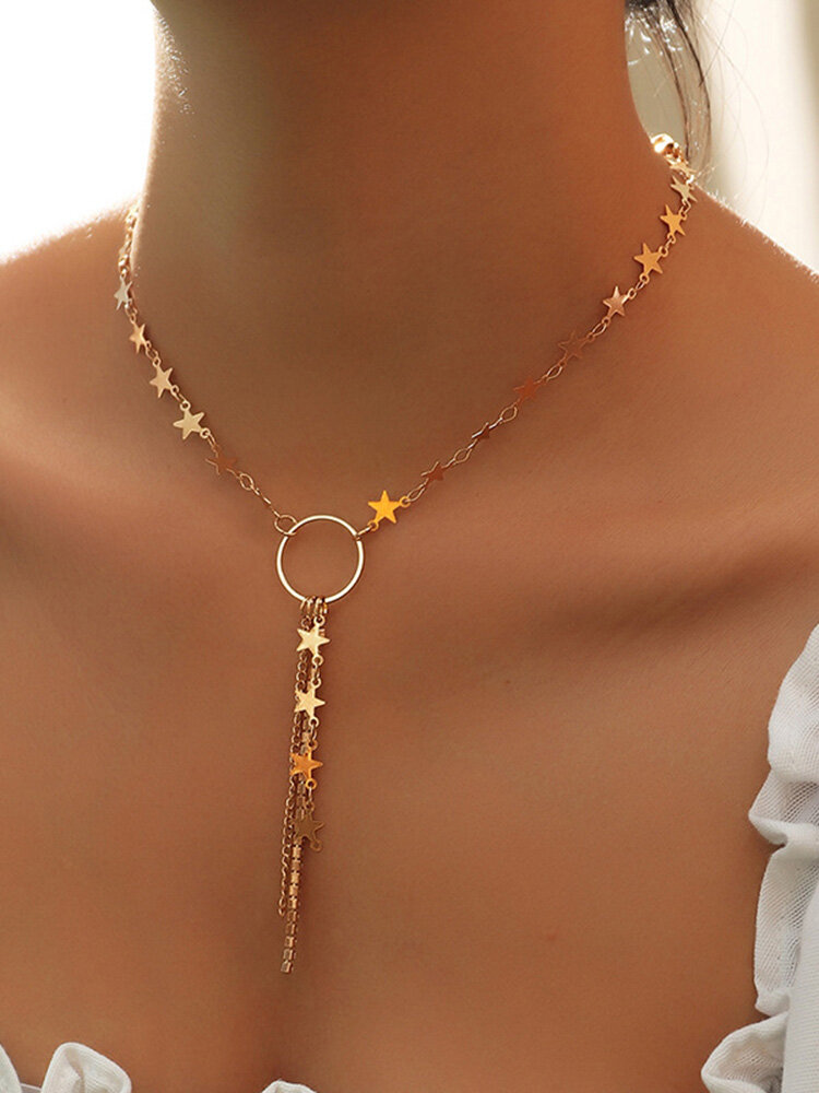 Temperament Five-Pointed Star Women Necklace Long Tassel Pendant Clavicle Chain Jewelry Gift