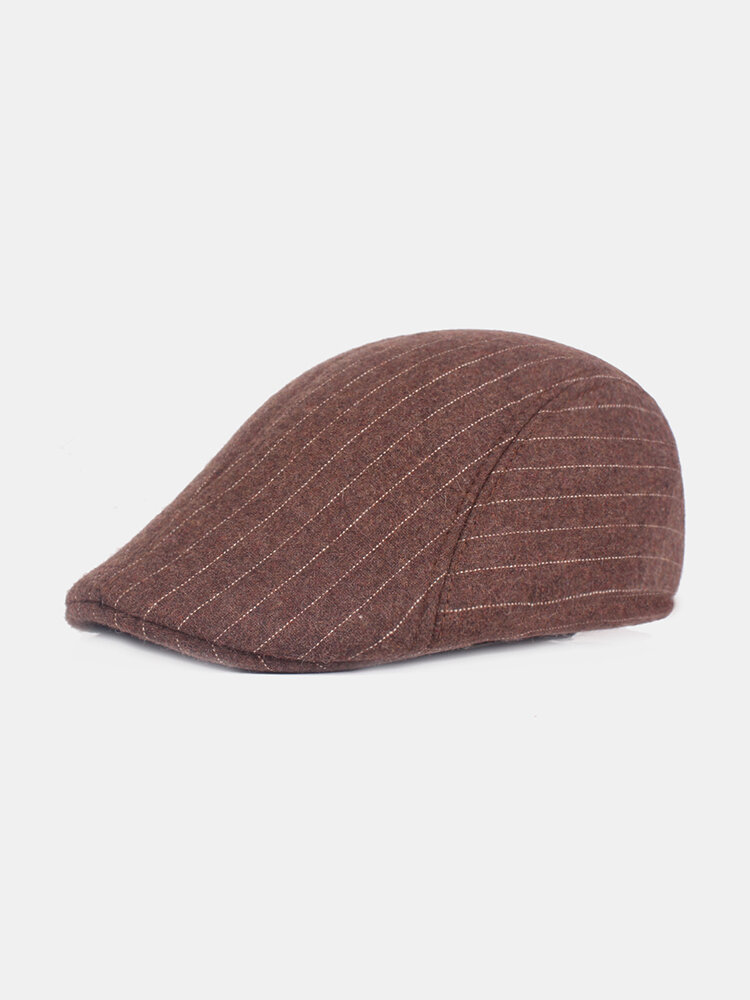 Men Winter Stripe Thickening Adjustable Cotton Warm Breathable Comfortable Vintage Beret Cap
