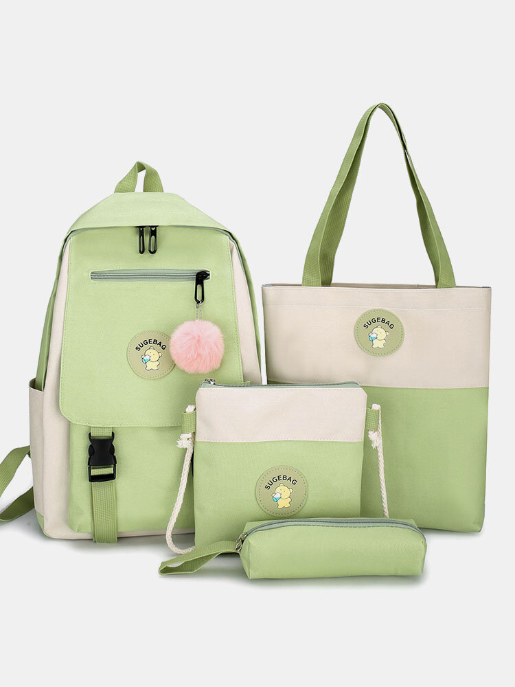4 PCS Canvas Preppy Multifunction Combination Bag Tote Backpack Crossbody Clutch Wallet