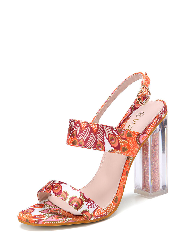 Women The Oeacock Pattern Decor Buckle Chunky Heels Shoes