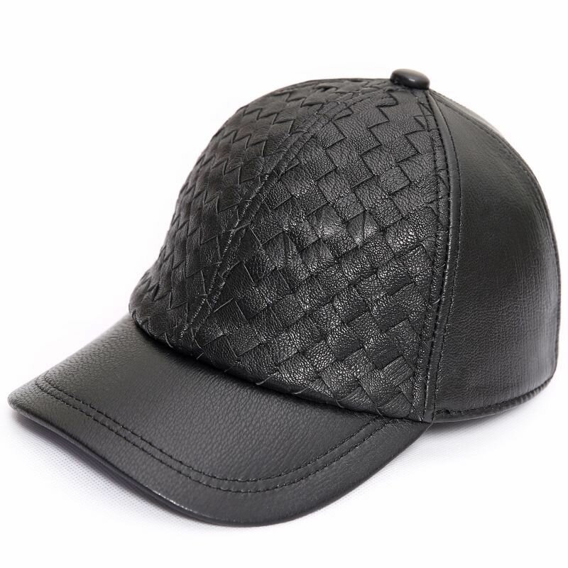 Men Solid Sheepskin Leather Baseball Cap Adjustable Casual Outdoor Sport Winter Warm Hat
