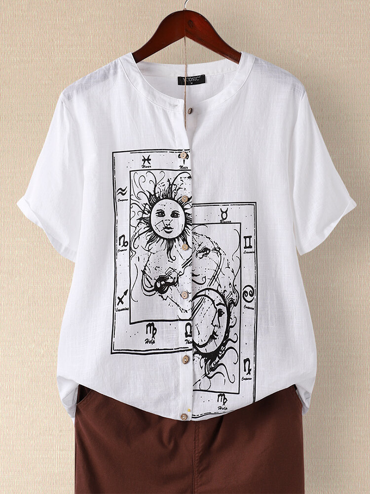 Cartoon Printed Button Fly Short Sleeve Stand Collar Blouse