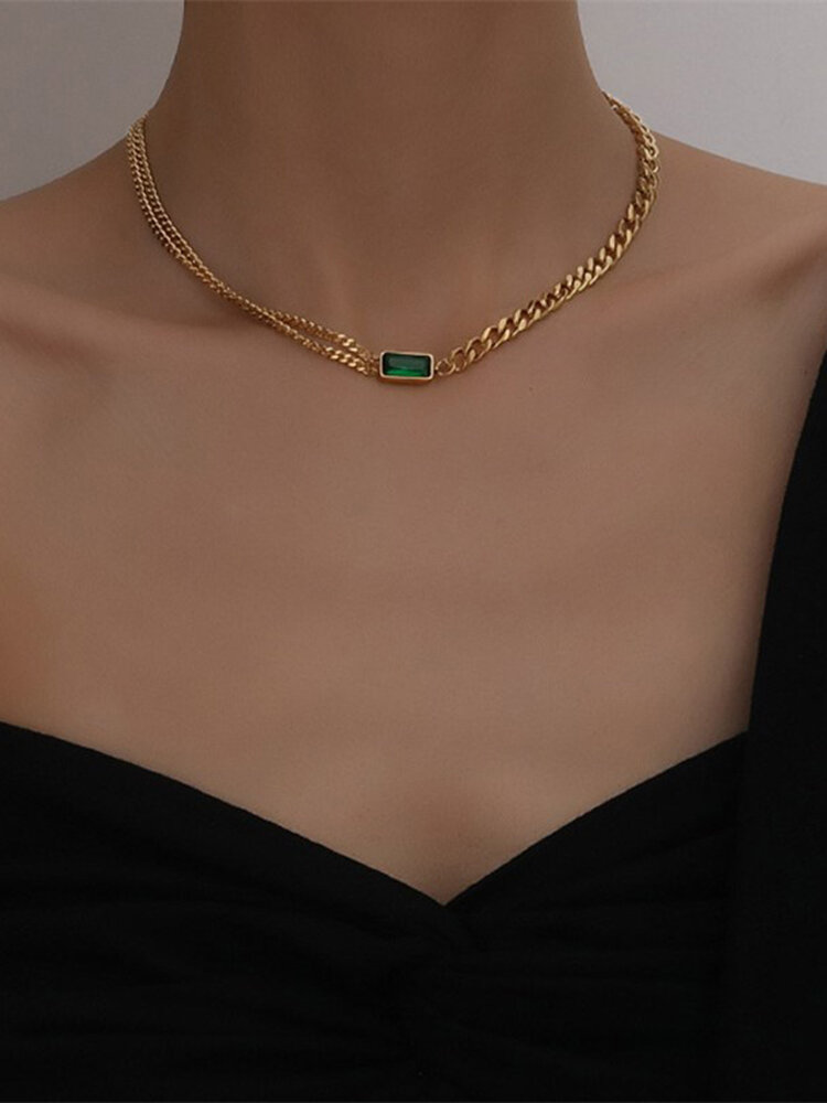 Luxury Thick Neck Chain Women Necklace Rectangular Crystal Pendant Necklace