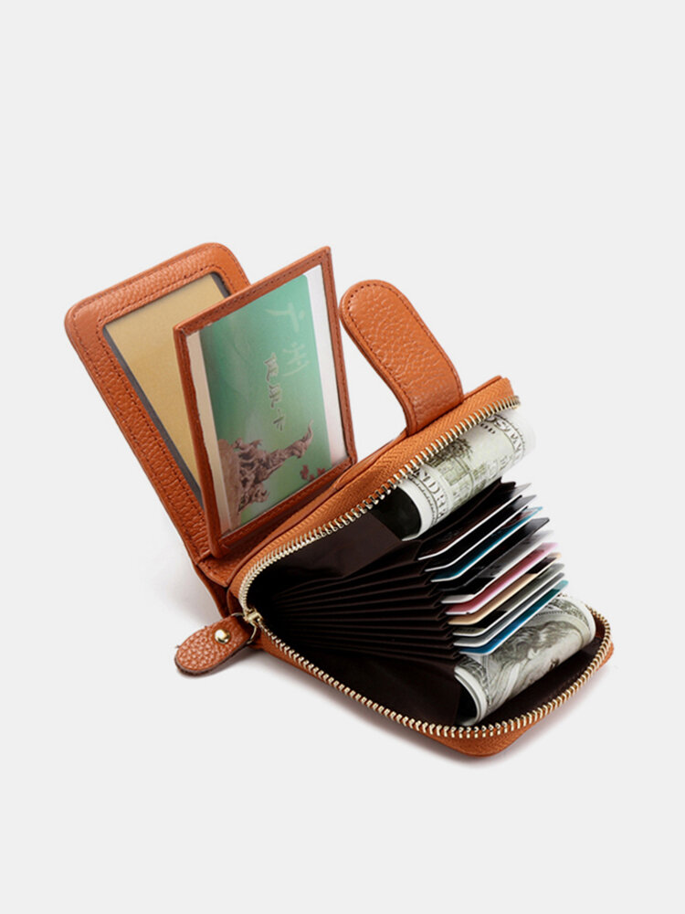 RFID Women Trifold Genuine Leather Wallet Purse Casual Card Holder
