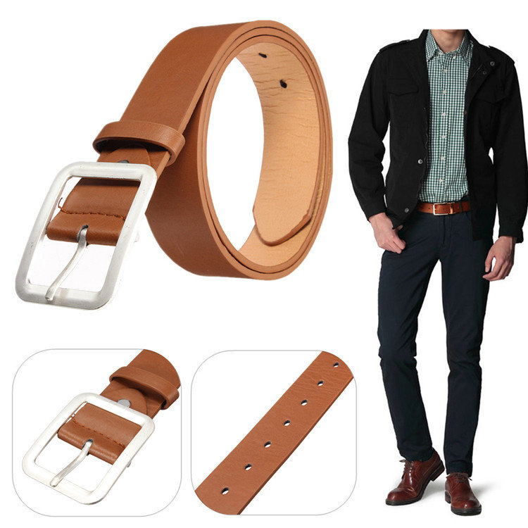 Men PU Leather Pin Buckle Belt Smooth Soft Wear-Resistance Colorfast Casual Business Belt