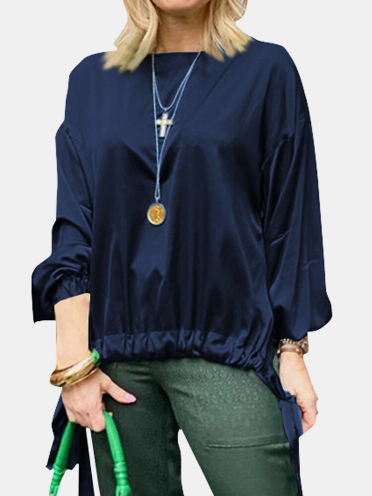 Solid Color Knotted Hem O-neck Long Sleeve Casual Blouse For Women