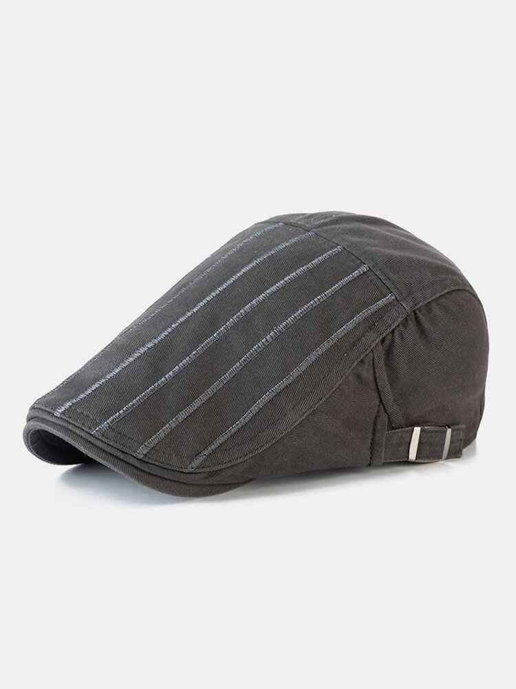 Men Cotton Solid Color Vertical Stripe Stitching Sunscreen Casual Beret Flat Caps
