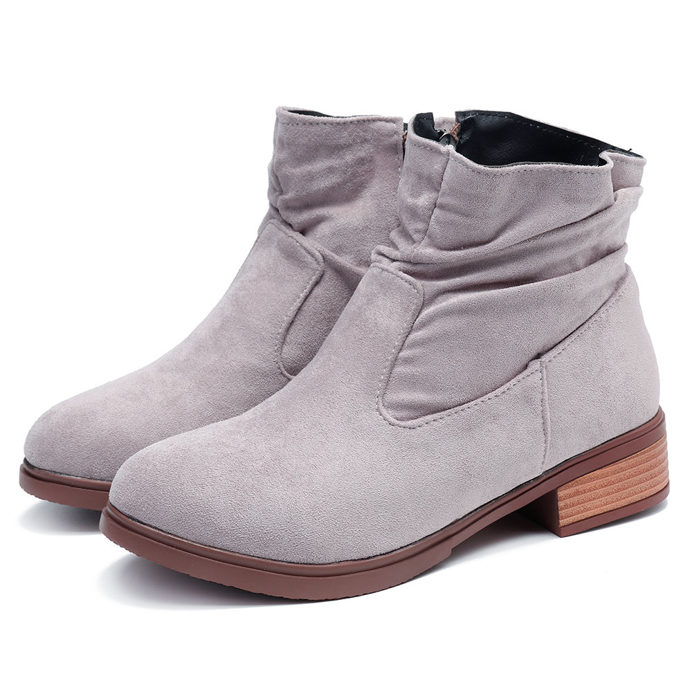 Suede Almond Zipper Ankle Boots
