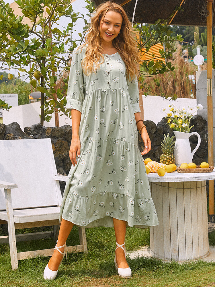 Floral Printed O-neck Midi Dress With Button
