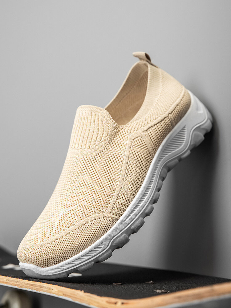 Men Brief Side Stripe Lazy Slip-on Breathable Knitted Fabric Walking Shoes